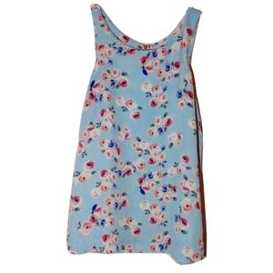 Paper Crane Anthropologie Tank Blue with Flowers
